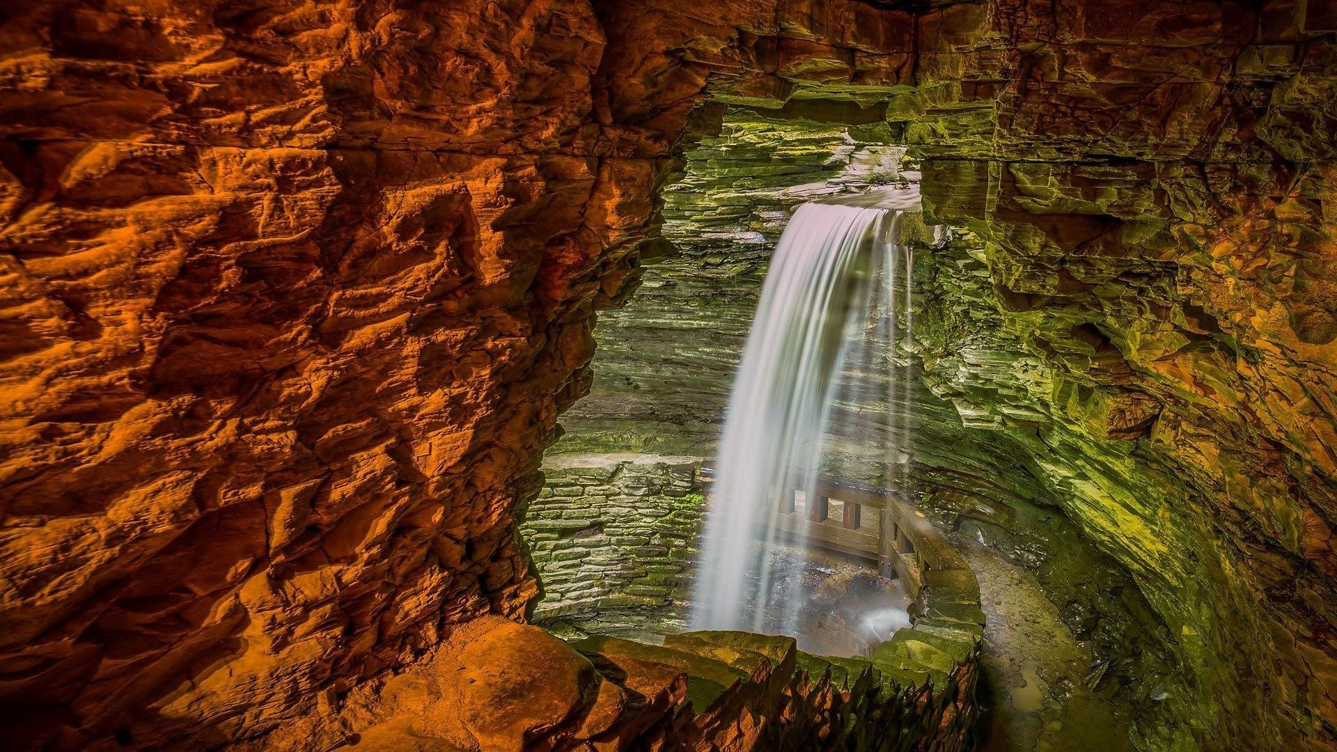 Happy Fall Wallpaper 1366x768 Nature Rock Cave Waterfall Stones Long Exposure Path