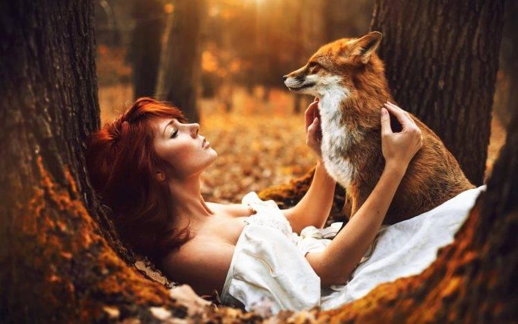 Full Screen Desktop Fall Leaves Wallpaper Women Model Redhead Long Hair Bare Shoulders Fox