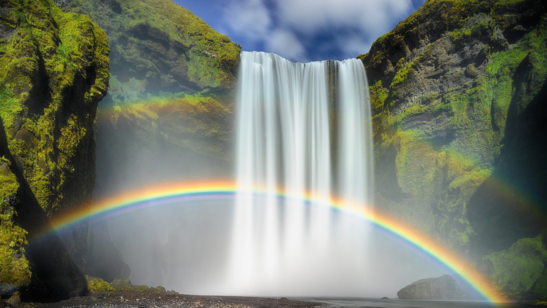 Free Animated Fall Wallpaper Nature Waterfall Rainbows Moss Long Exposure Iceland