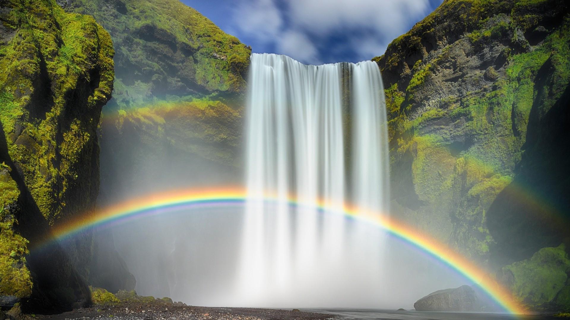 Niagara Falls Moving Wallpaper Nature Waterfall Rainbows Moss Long Exposure Iceland