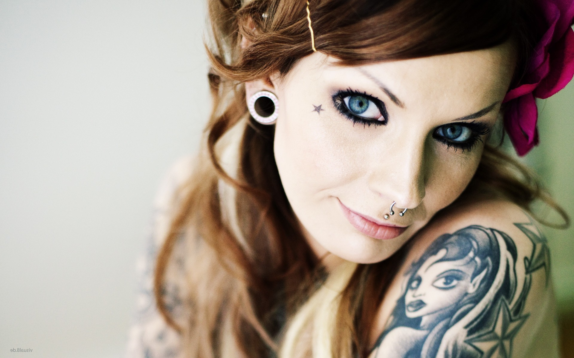Fantasy Wallpaper Little Girl Women Tattoo Piercing Face Portrait Model Wallpapers