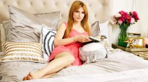 Bella Thorne Redhead In Bed Pink Dress Barefoot Women