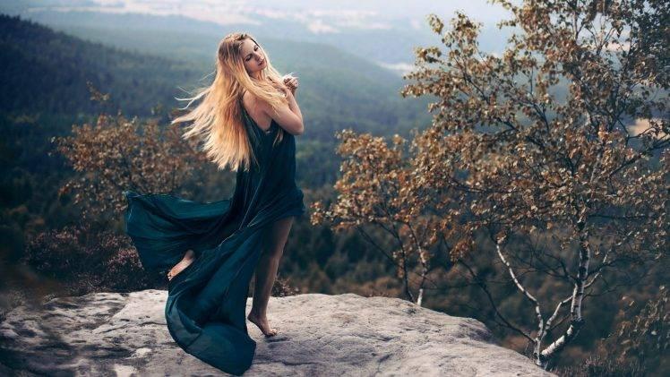 Anime Girl Walking On Moon Wallpaper Women Model Blonde Long Hair Women Outdoors Nature