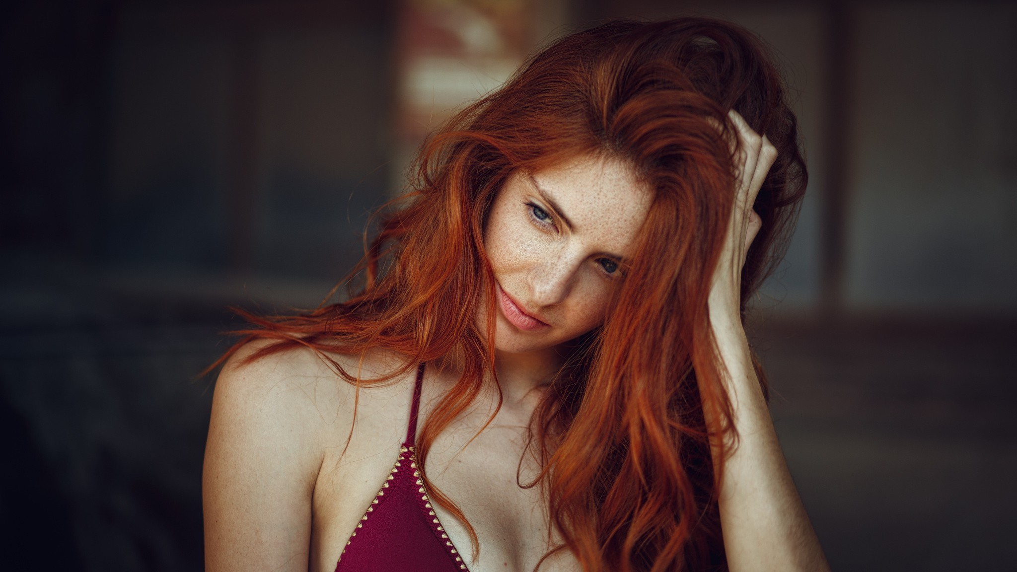 Girl Military Wallpaper 2048x1152 Women Face Freckles Redhead Bra Looking Away Hands