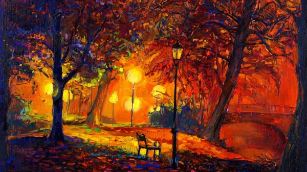 Digital Art Nature Trees Painting Park Bench Lamps Fall Leaves Modern Impressionism