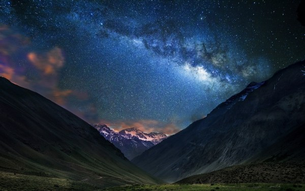 Landscape Nature Mountain Starry Night Milky Galaxy Dirt Road Snowy Peak Chile Long