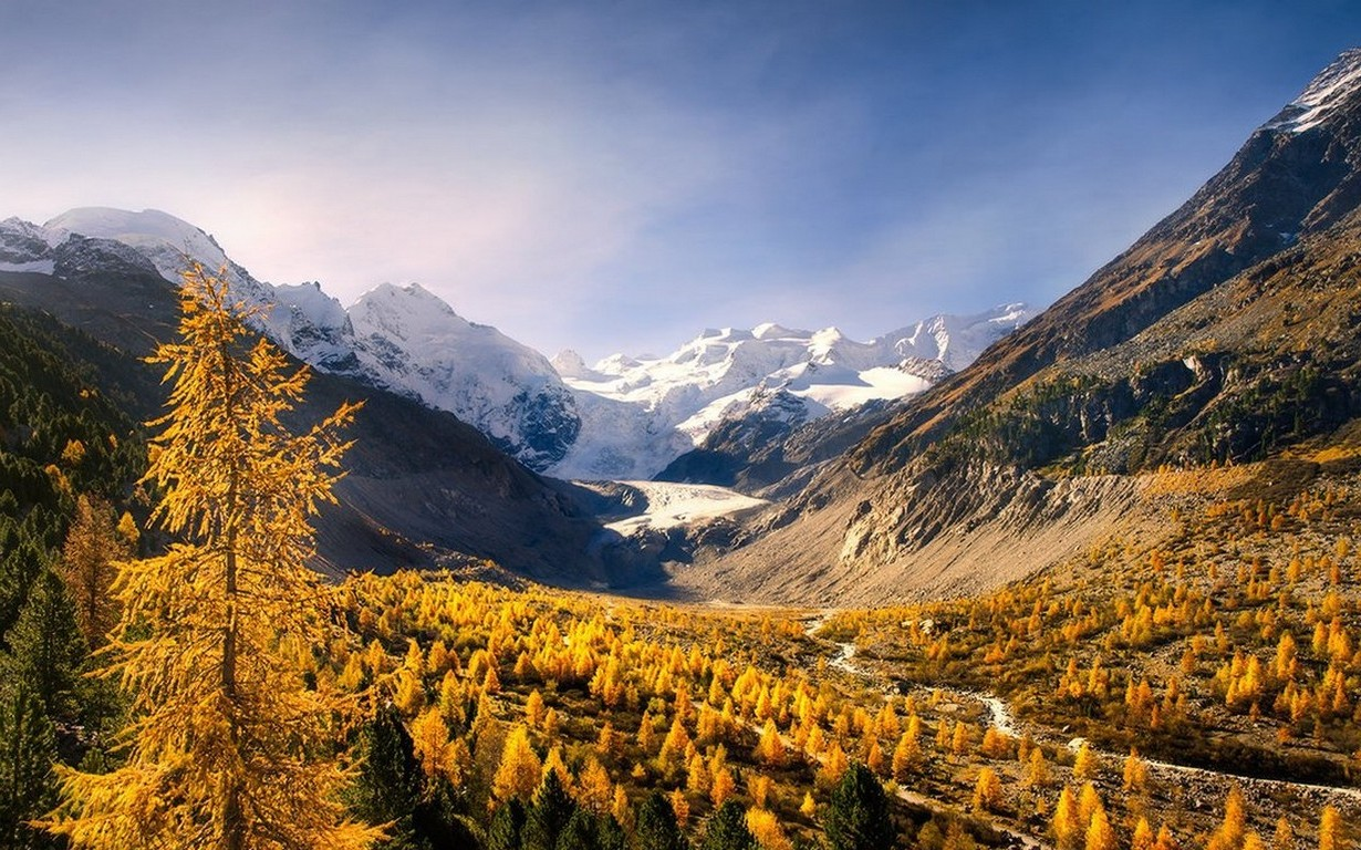 Fall Landscape Wallpapers Free Nature Landscape Mountain Forest Fall Snowy Peak