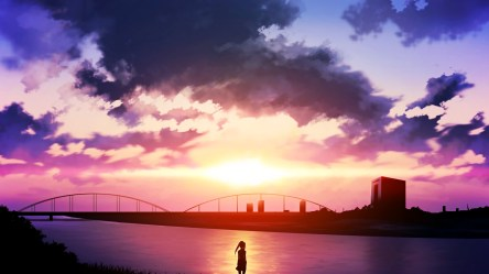 anime sunset sky clouds river hd desktop wallpapers background backgrounds resolution screen px
