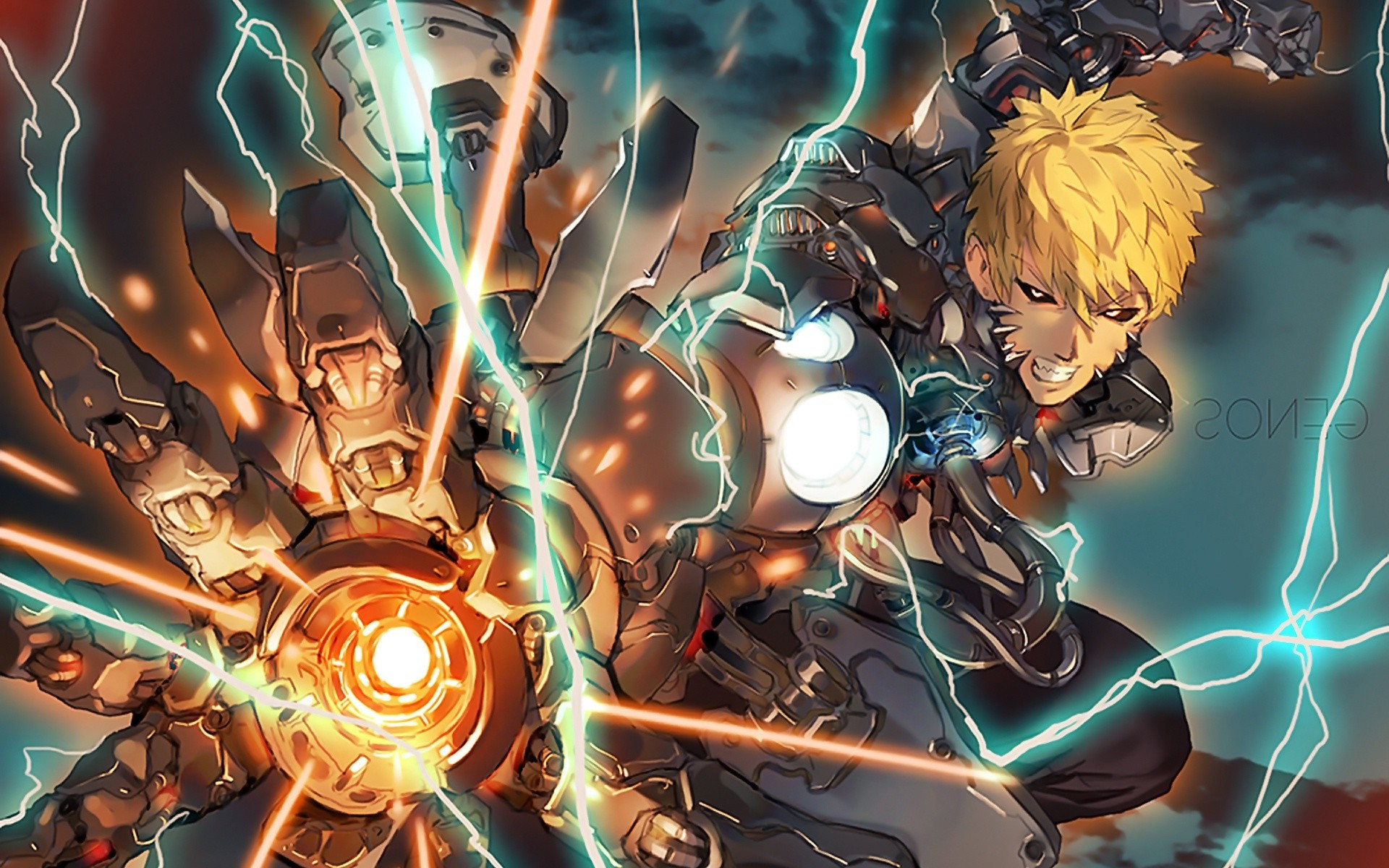Hisoka Iphone Wallpaper One Punch Man Genos Lightning Cyborg Wallpapers Hd
