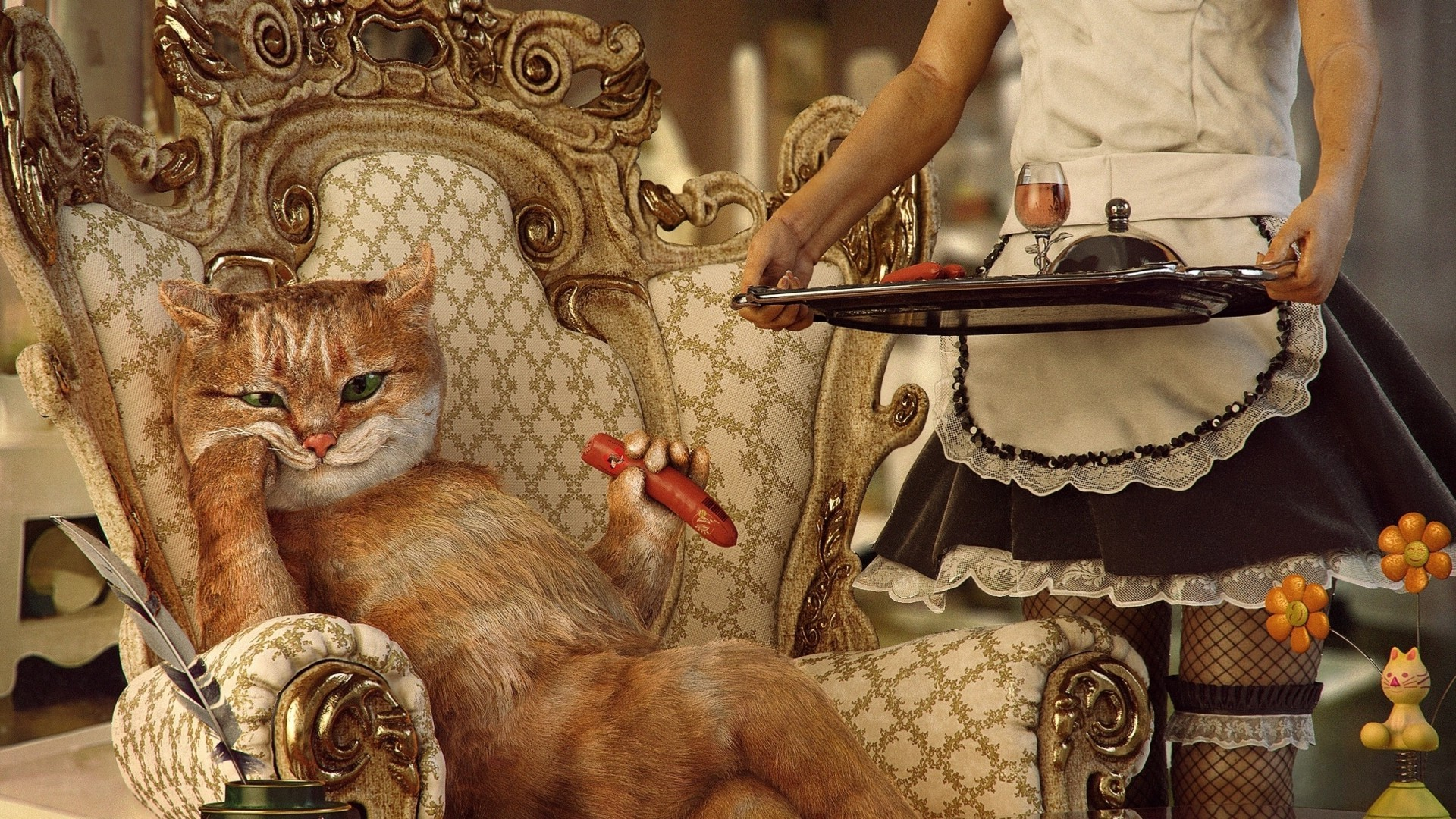 Crazy Girl Wallpaper Download Women Animals Digital Art Cat Wealth Maid Skirt