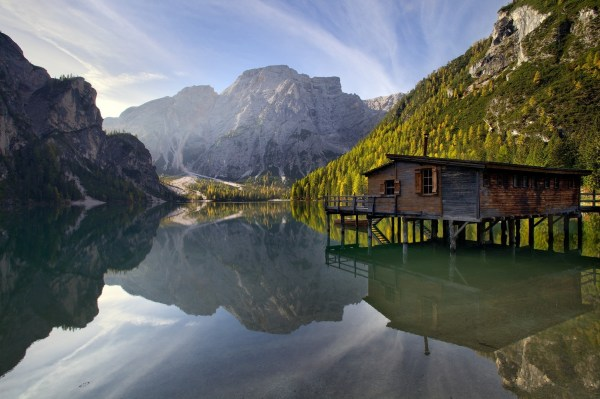 Nature Landscape Lake Mountains Water Cabin Forest Reflection Italy
