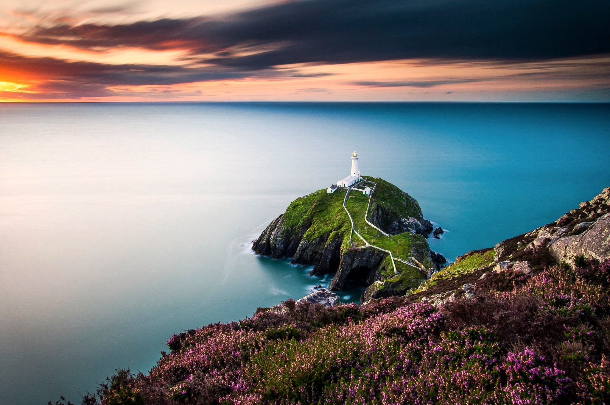 Animal Wallpaper Hd For Mobile Free Download Landscape Wales Lighthouse Flowers Coast Sea Uk