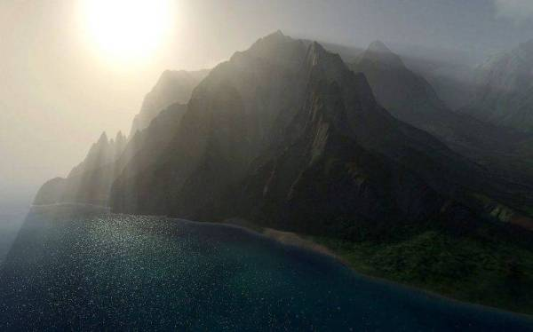 nature Landscape Mist Sun Rays Mountains Coast Sea