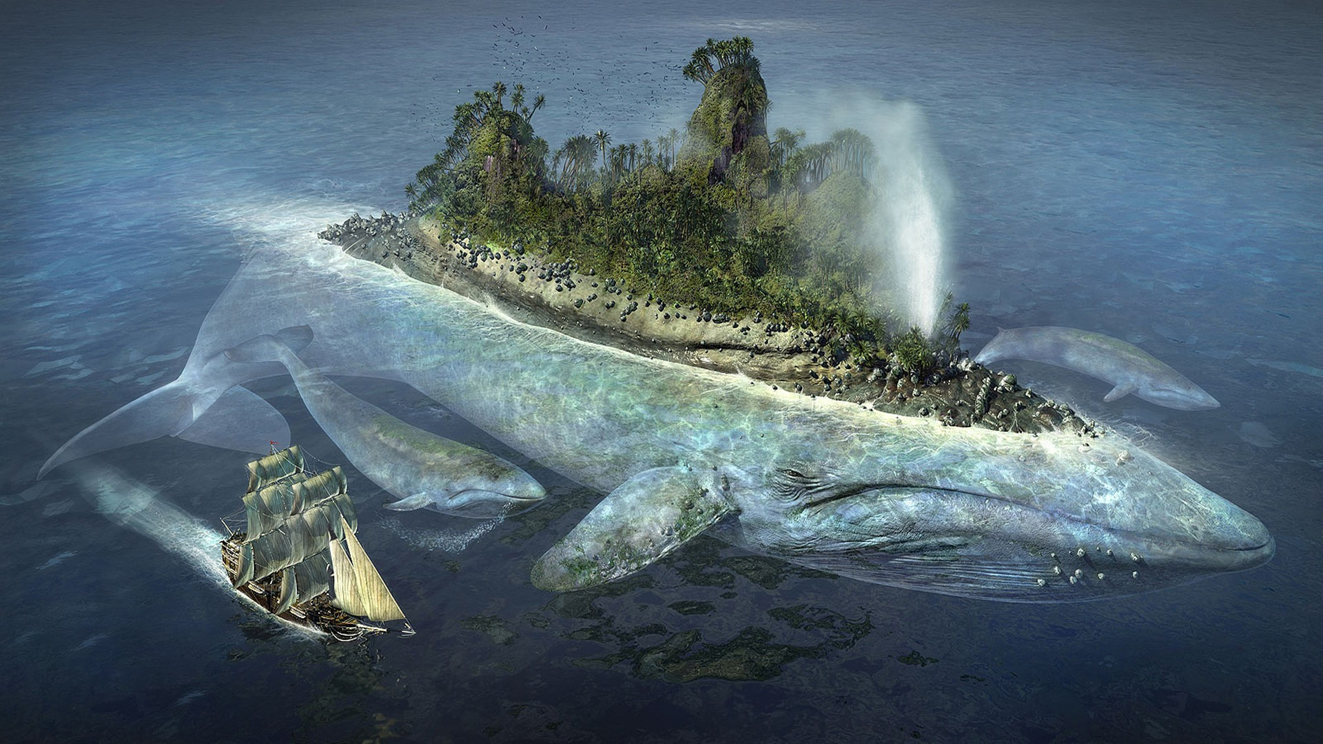 Creature 3d Movie Wallpaper Download Whale Island Ship Sea Fantasy Art Water Wallpapers Hd