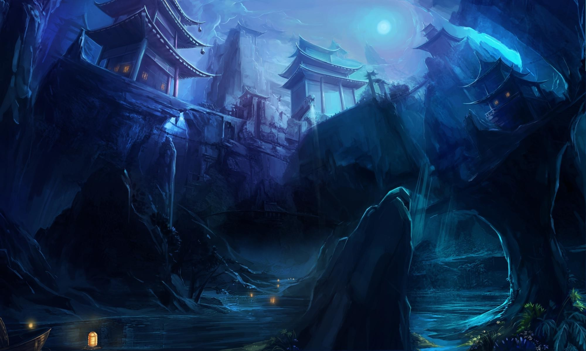 Anime Girl Wallpaper Waterfall Temple Fantasy Art Blue Wallpapers Hd Desktop And