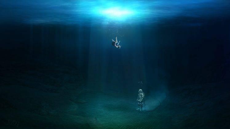 Falling Water Wallpaper Fantasy Art Underwater Original Characters Falling