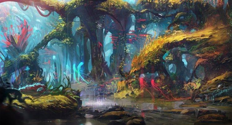 Futurist Anime Girl Wallpaper Drawing Digital Art Forest Lake Trees Fantasy Art