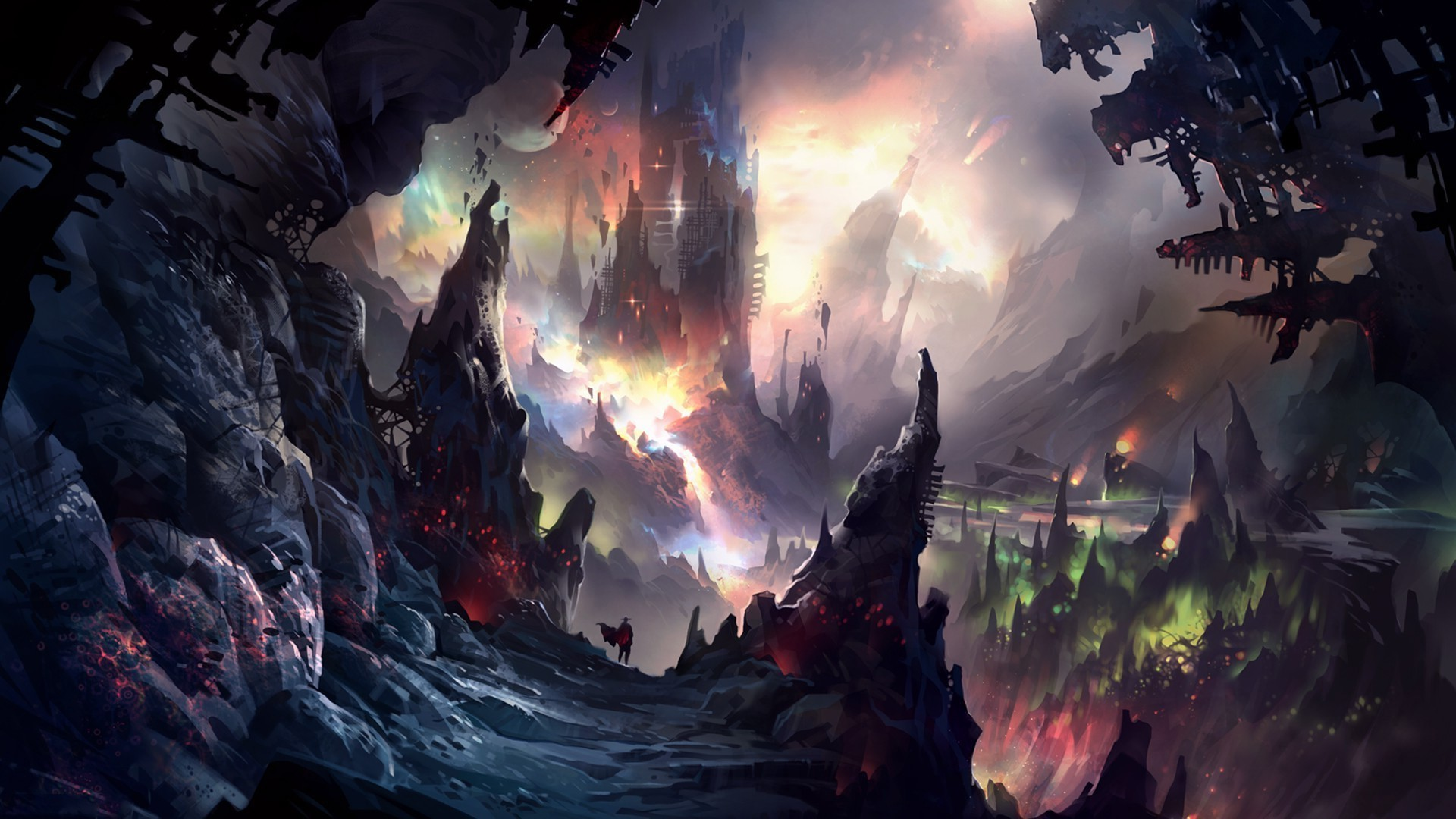 3d Depth Purple Abstract Wallpapers Fantasy Art Illustration Colorful Painting Cave