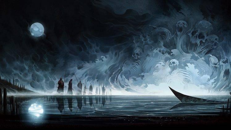 4k Anime Monster Girls Wallpaper Artwork Fantasy Art Skull Moon Reflection Water Boat