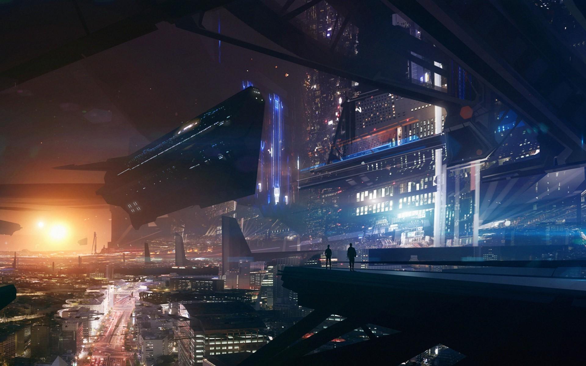 Gravity Falls Wallpaper Full Hd Future City Lights Space Futuristic Spaceship Fantasy