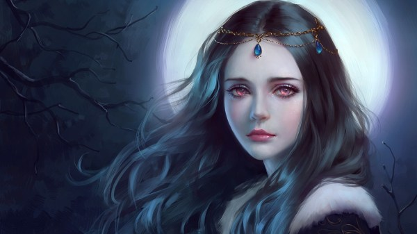 Fantasy Art Women Hair Princess Night Red Eyes Crown Teen Queen Dark Trees Wallpapers