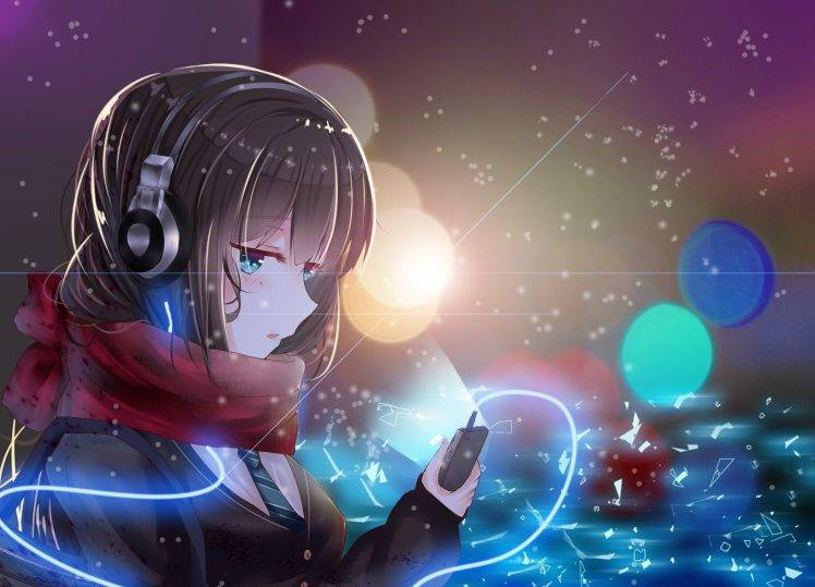 Anime Gamer Girl Red Head Wallpaper Anime Girls Anime Headphones Scarf Shibuya Rin The