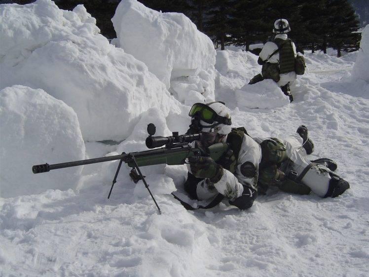 Falling Snow Desktop Wallpaper Sv 98 Sniper Rifle Soldier Gun Weapon Snow Wallpapers