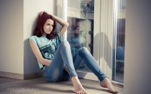 Jeans Barefoot Redhead Hands Head Wallpapers Hd