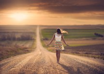 Women Outdoors Road Barefoot Jake Olson Windy