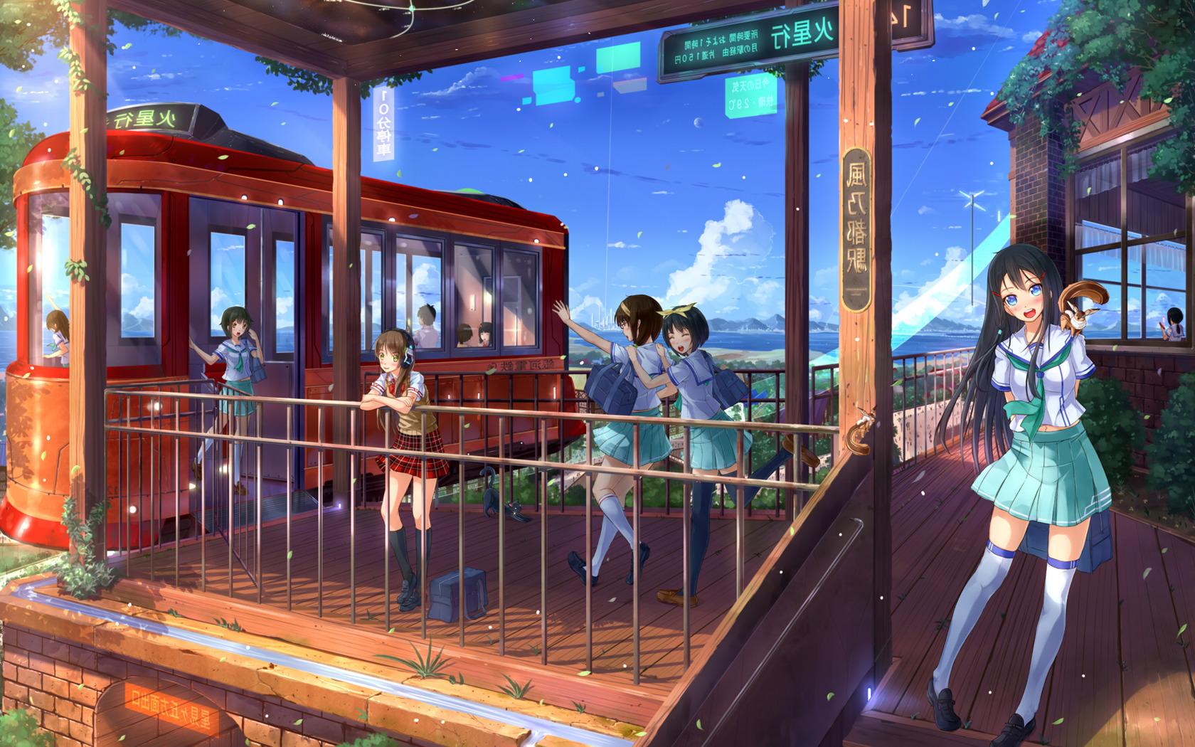 New Girl Wallpaper Full Hd Anime Anime Girls Train Station Schoolgirls Wallpapers