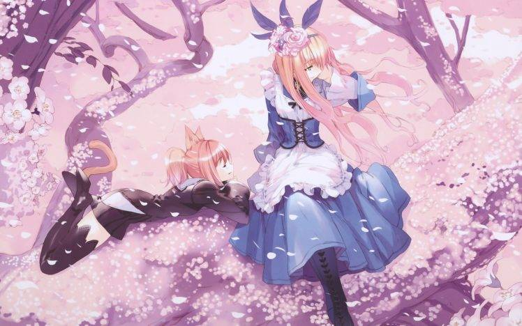 Sakura Falling Live Wallpaper Trees Anime Girls Cat Ears Cherry Blossom Dress Anime
