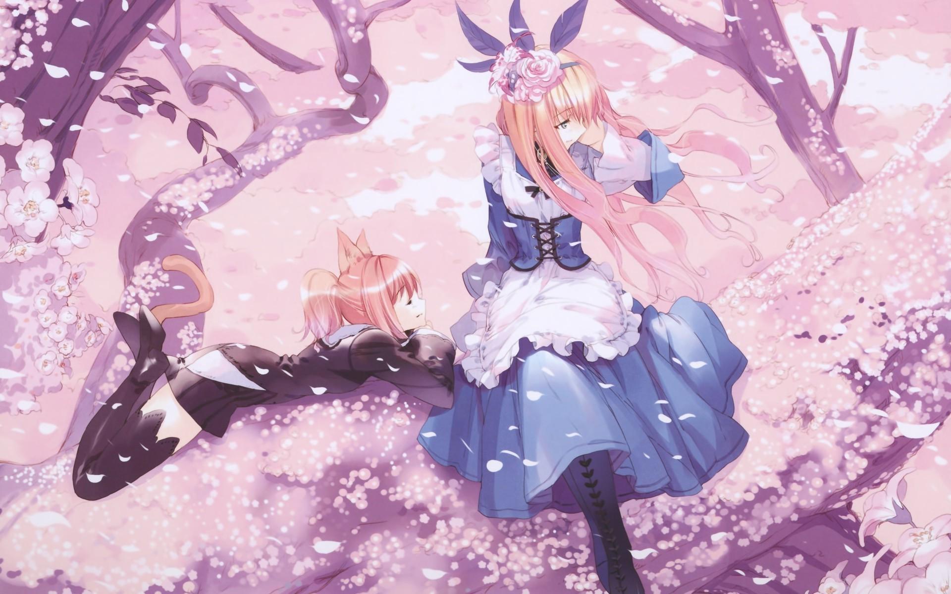 Pretty Anime Falling Angel Wallpapers 1920x1080 Hd Trees Anime Girls Cat Ears Cherry Blossom Dress Anime