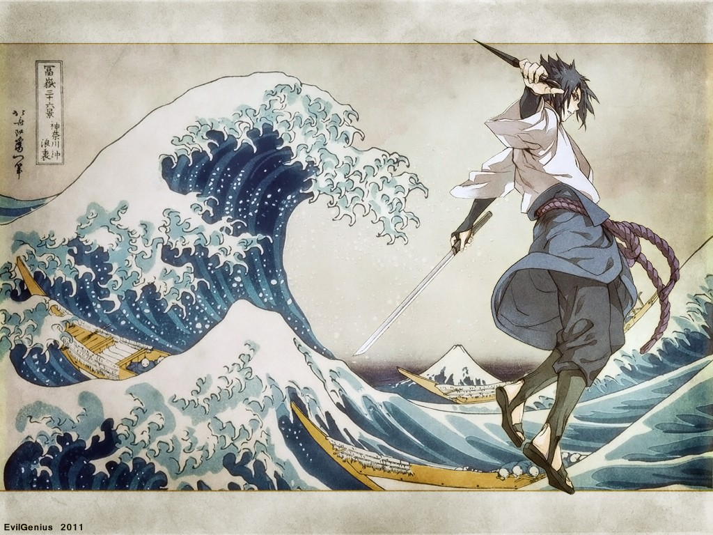 Wallpaper Naruto Shippuden 3d Naruto Shippuuden Uchiha Sasuke The Great Wave Off