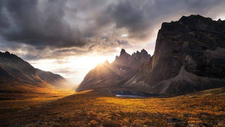 Fall Mountains In The Sun Wallpaper Mountains Fall Sunset Rocks Nature Landscape Clouds