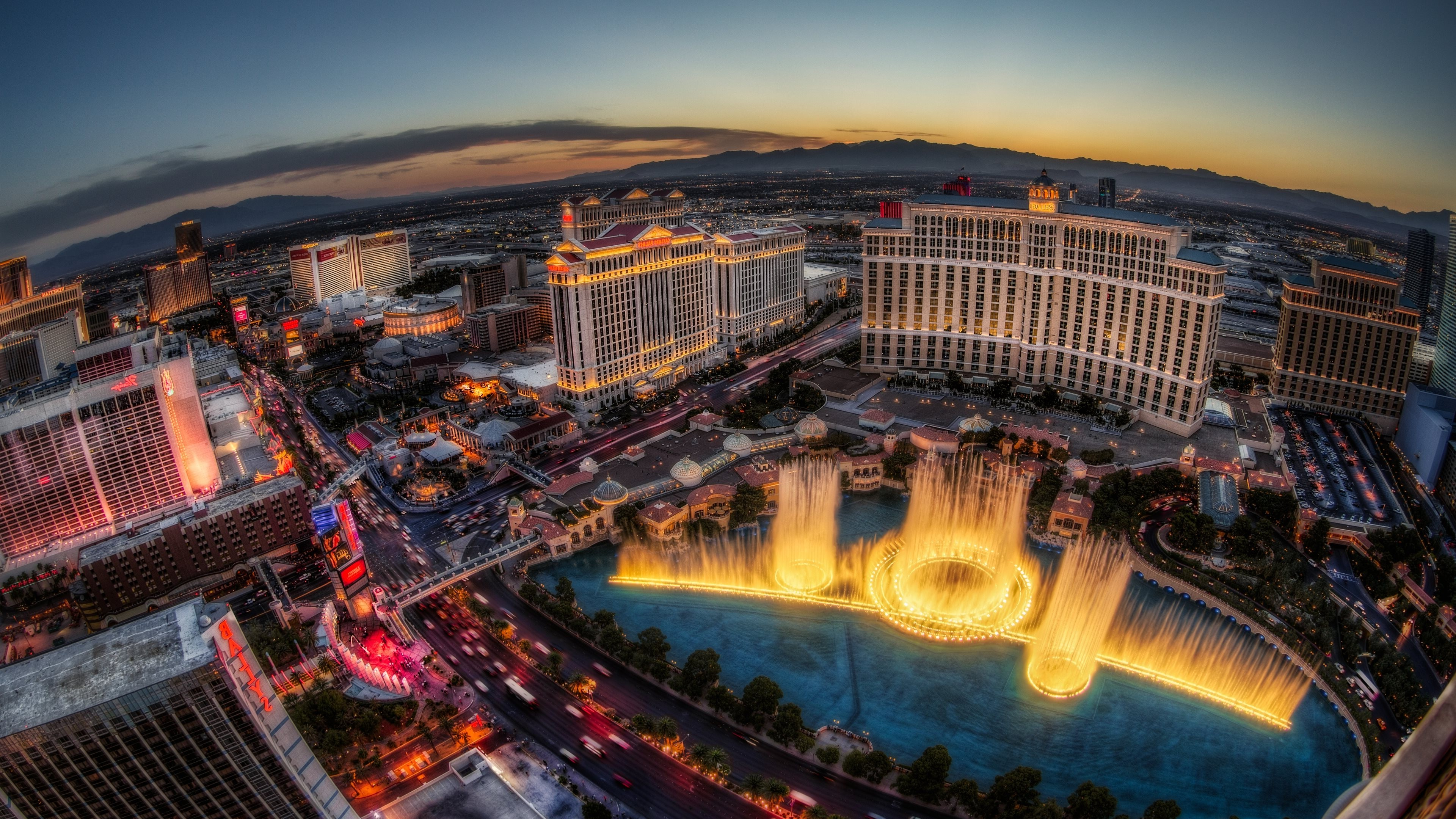 Las Vegas Strip Hd Wallpaper Las Vegas Building Landscape Fountain Mountains City