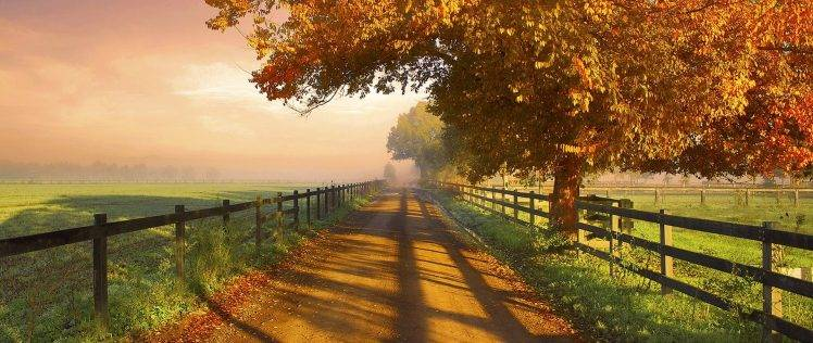 Fall Foliage Computer Wallpaper Nature Photography Landscape Fence Dirt Road Morning