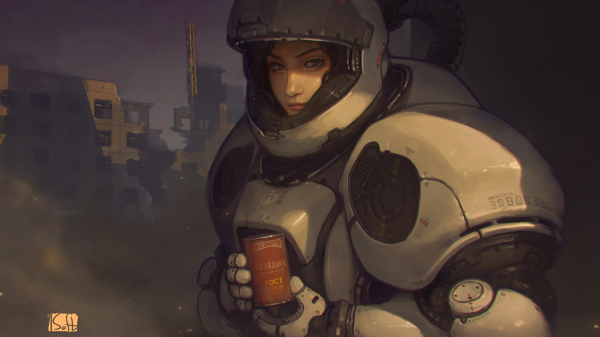 Futurist Anime Girl Wallpaper Drawing Science Fiction Digital Art Space Suit