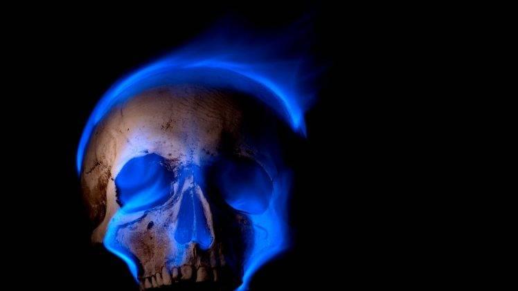 digital Art Skull Black Background Teeth Burning Blue