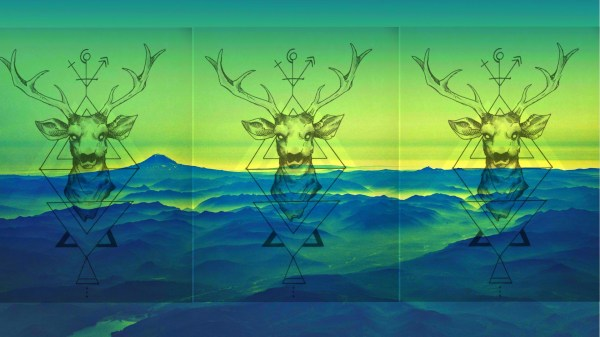 Nature Animals Digital Art Deer Triangle Simple Collage Landscape Mountains Mist