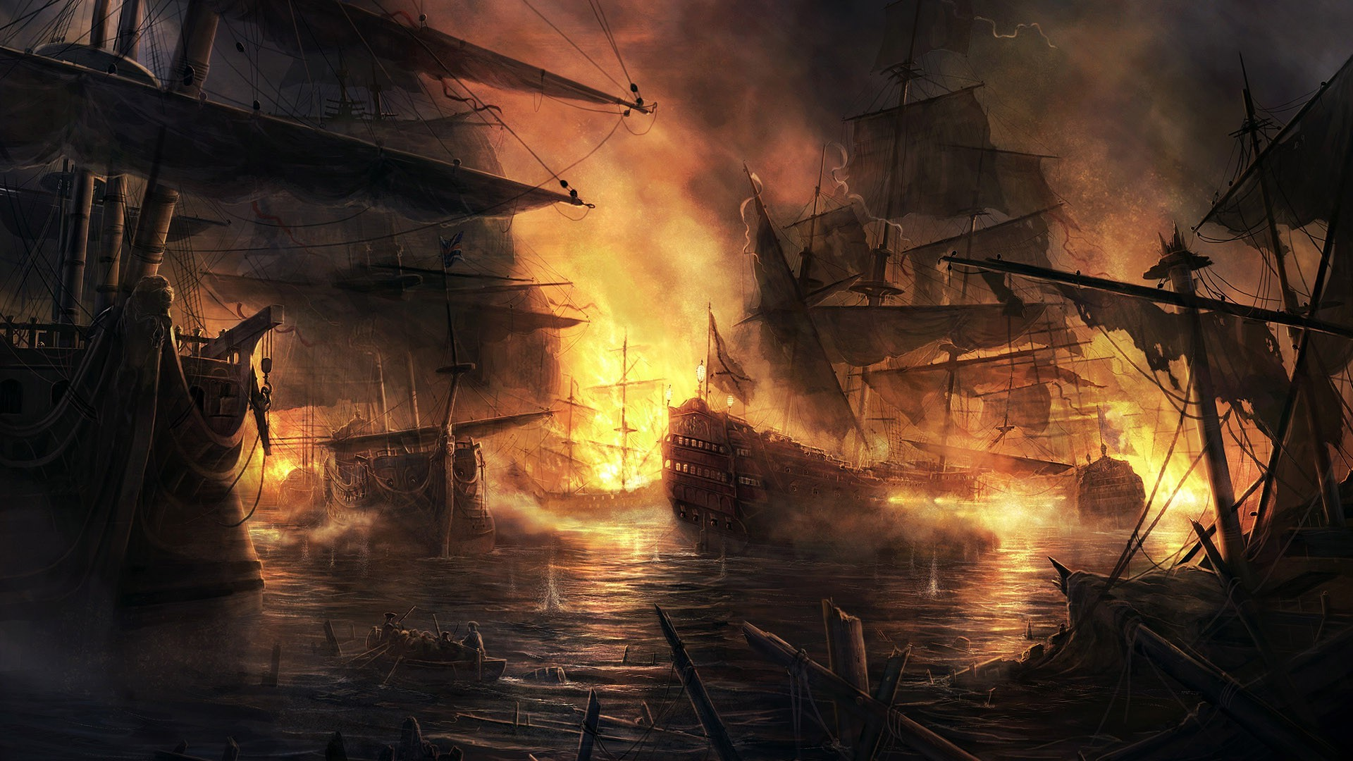 Epic Animal Wallpapers Sailing Ship Fire Smoke Cannons Armada Empire Total
