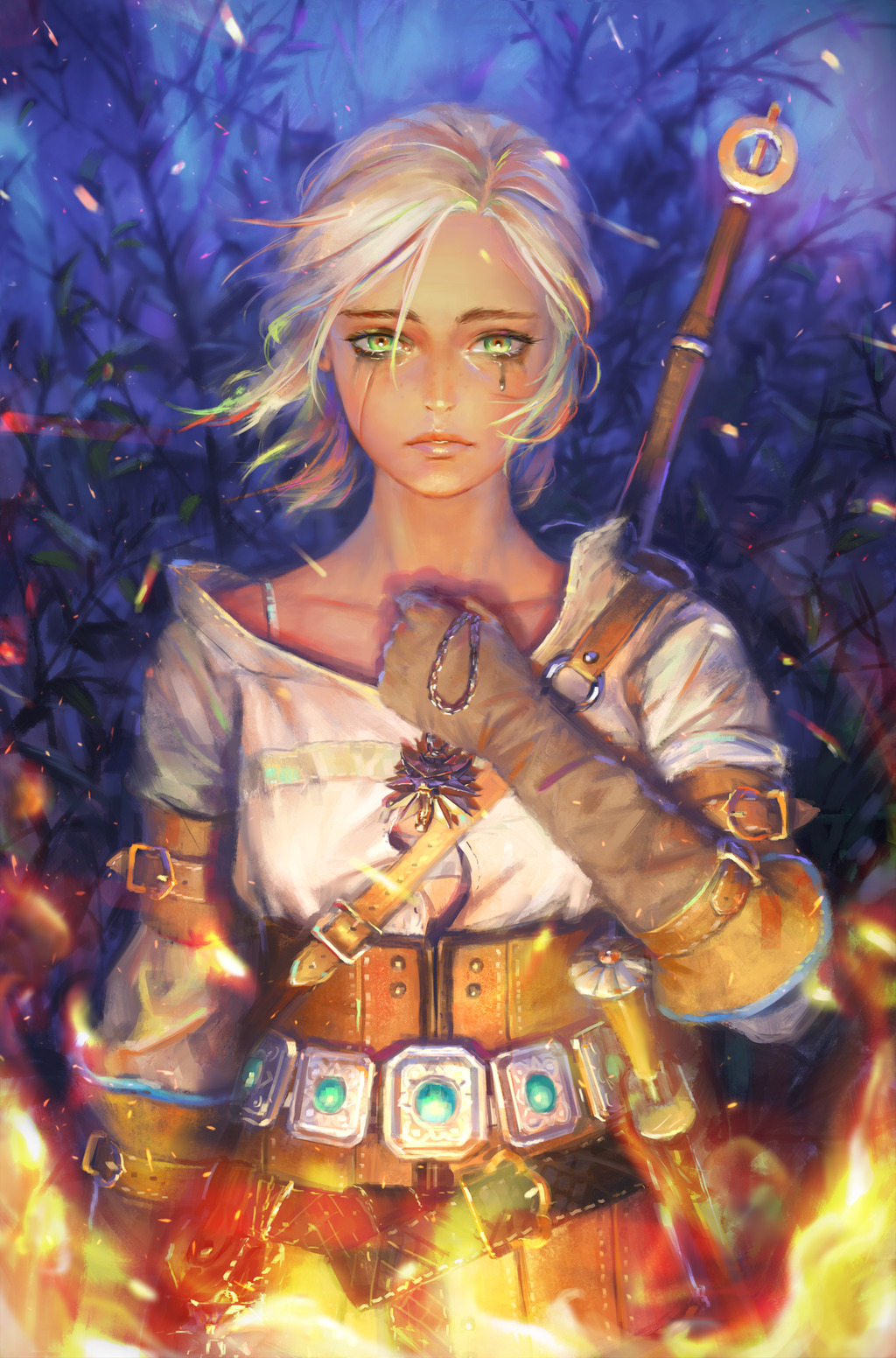The Witcher 3 3d Wallpaper Ciri Fire Tears The Witcher 3 Wild Hunt Wallpapers Hd