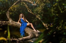 Women Trees Blue Dress Barefoot Outdoors