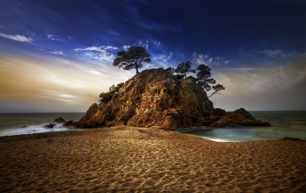 Beach Sand and Rock Landscape