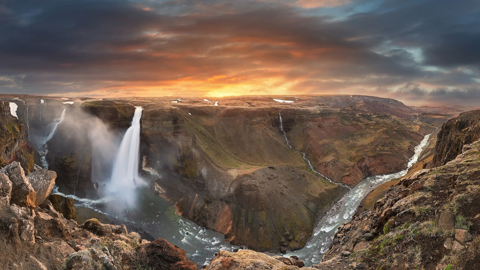 Amazing Falls Wallpaper Nature Landscape Waterfall Long Exposure Iceland