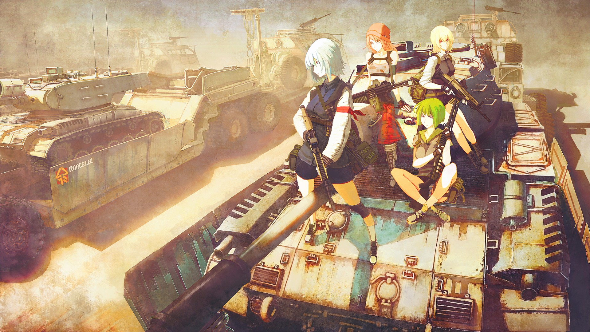 Cute Anime Girl Gun Wallpaper Original Characters Anime Anime Girls Military Tank