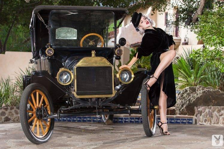 oldtimer car women stockings