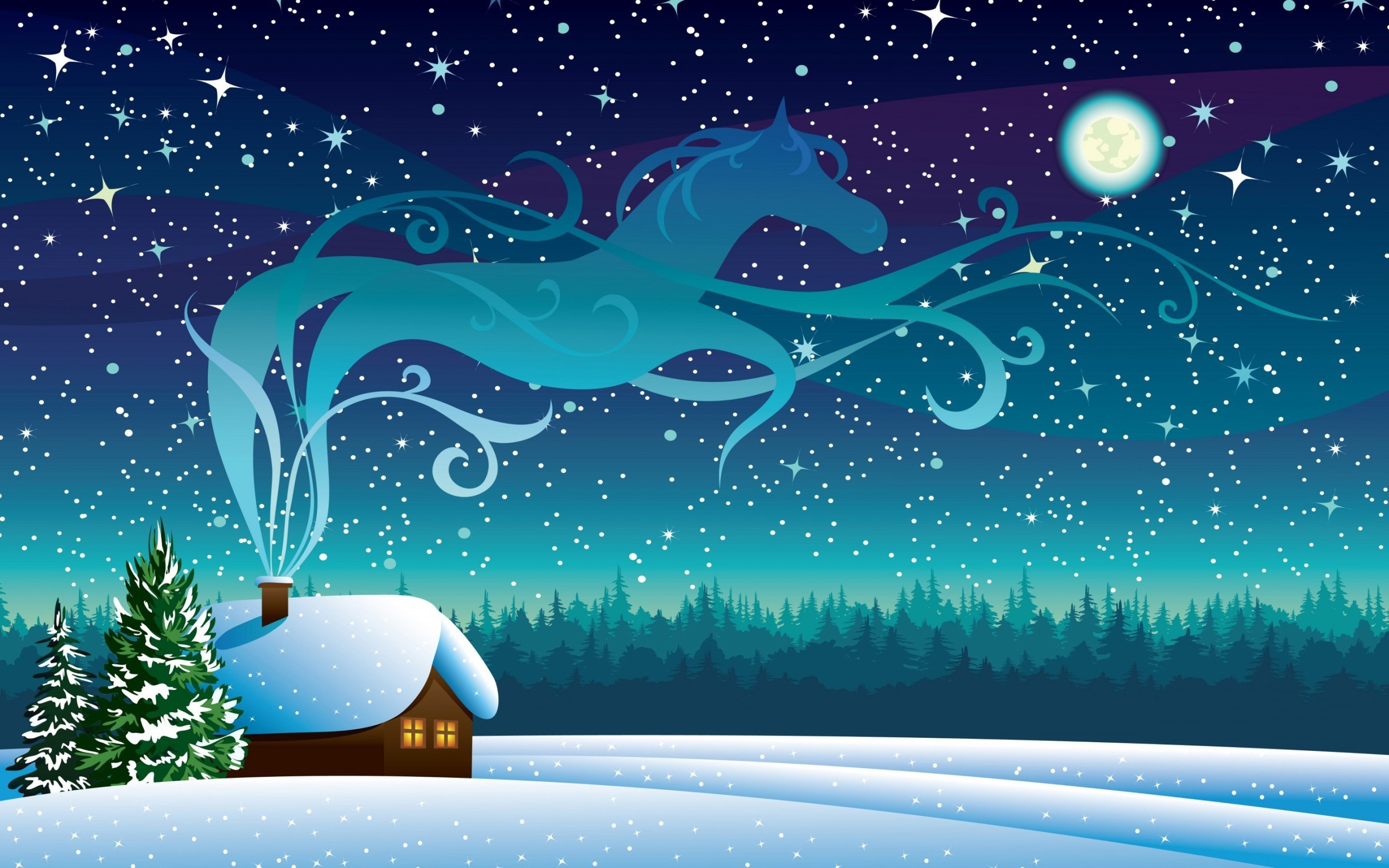 March 2018 Cute Full Screen Desktop Wallpapers Snow Cottage Night Horse Vector Art Pine Trees Wallpapers