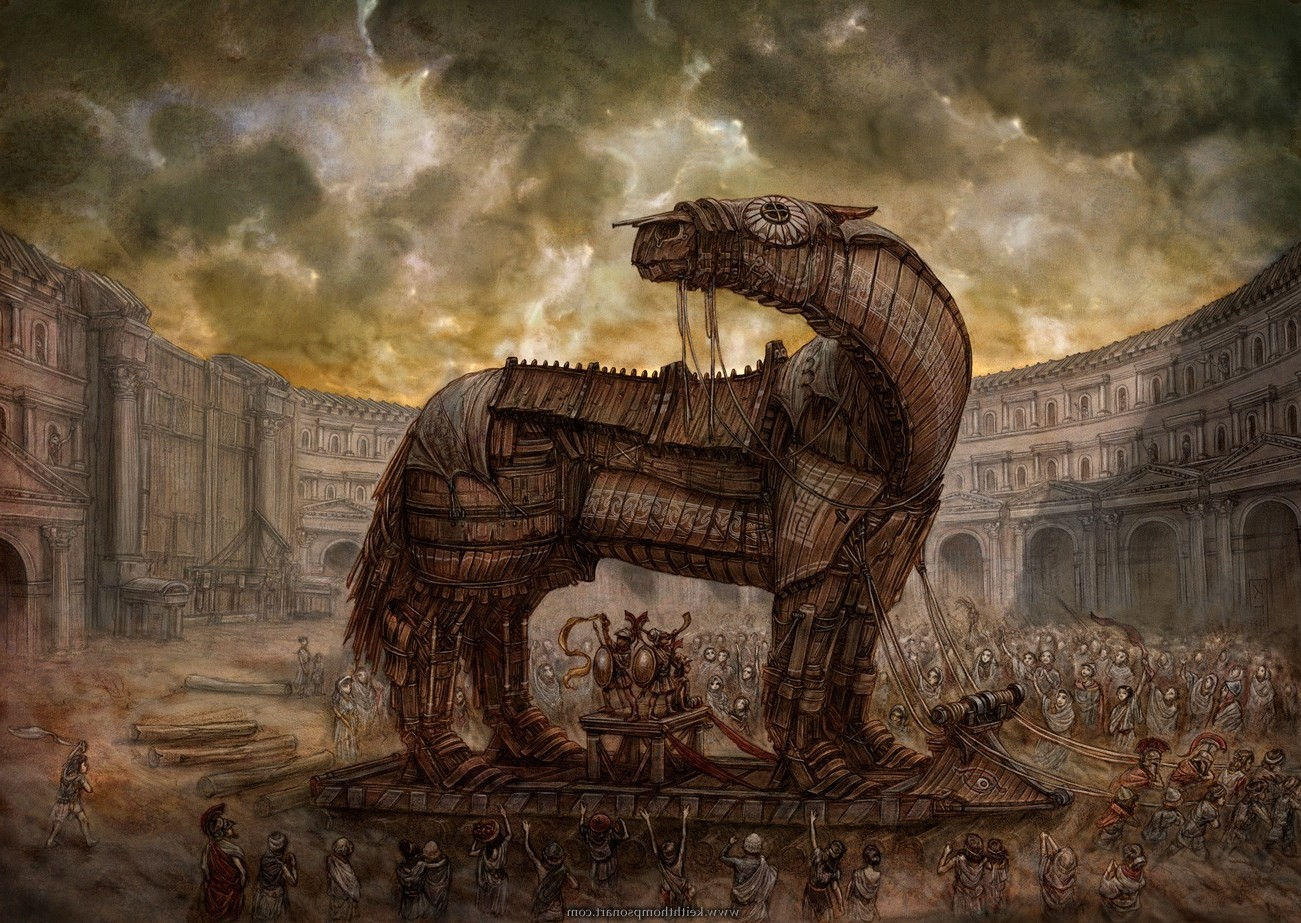 The Fall Of Troy Wallpaper Workers Mongols Ancient Old Horse Building Clouds Artwork