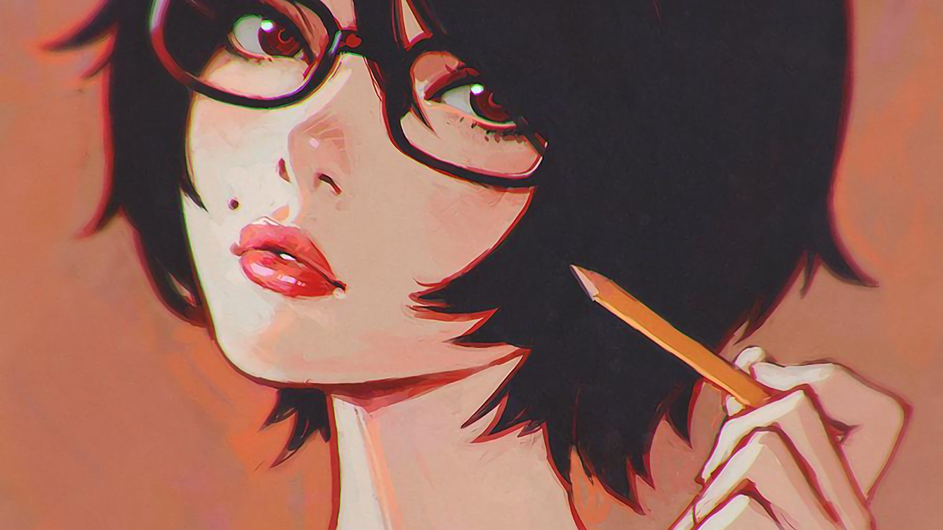 Sad Girl Sketch Wallpaper Ilya Kuvshinov Drawing Cartoon Glasses Wallpapers Hd
