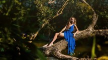 Women Outdoors Branch Trees Blue Dress Barefoot Blonde